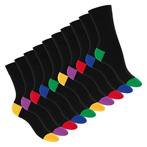 Footstar Damen und Herren Baumwoll-Socken (10 Paar) mit abgesetzter Ferse und Spitze - Schwarz 43-46