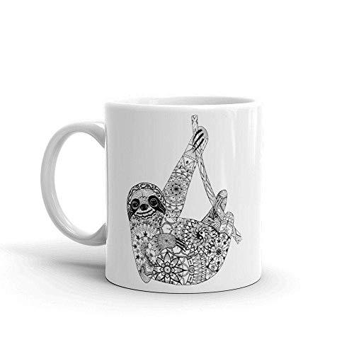 N\A Pereza Taza de la Mandala Perezoso Divertido de la Pereza Taza de café Mandala gráfico Animal Salvaje de Rescate de Animales Naturaleza Regalo del Amante LIF Lenta