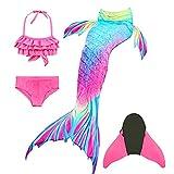 Halloween Cola de Sirena Niña para Natación,Traje de Baño Mermaid Swimsuit Bikini Establece con Monoaleta,Princesa Cosplay Conjuntos para Nadar Fiesta Fotos (100-110)