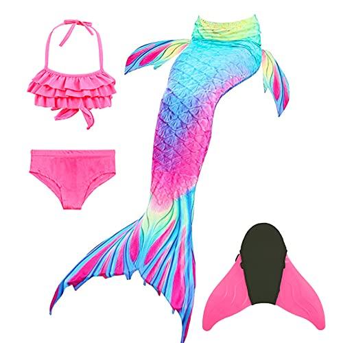 Halloween Cola de Sirena Niña para Natación,Traje de Baño Mermaid Swimsuit Bikini Establece con Monoaleta,Princesa Cosplay Conjuntos para Nadar Fiesta Fotos (110-120)