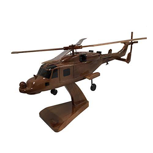 AgustaWestland AW159 Wildcat Royal Navy Hubschrauber, Holz, Schreibtischmodell (Mahagoni)