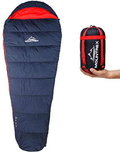 MOUNTREX® Schlafsack - Kleines Packmaß & Ultraleicht (720g) - Outdoor Sommer Schlafsack, Mumienschlafsack (205 x 80 CM) - Kompakt, Warm und Leicht für Camping, Reise oder Festival - Koppelbar (Rechts)