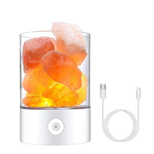 Lámpara de sal del Himalaya,roca de cristal natural 7 colores luz de sal, con de control regulable de brillo táctil, lámpara de dormitorio de cabecera mejor para regalo creativo de salud (Blanco)