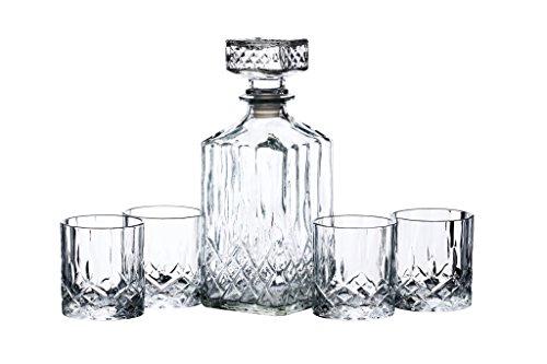 BarCraft Set Decanter e Bicchieri da Whisky in Vetro, Cristallo (5 Pz, 26 x 10 x 24 cm