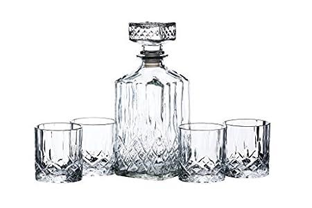 Decantador de güisqui y cubitera de vidrio tallados Barcraft, 5 piezas