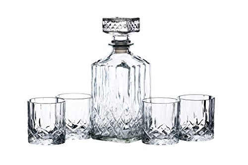 BarCraft Set Decanter e Bicchieri da Whisky in Vetro, Cristallo (5 Pz, 26 x 10 x 24 cm