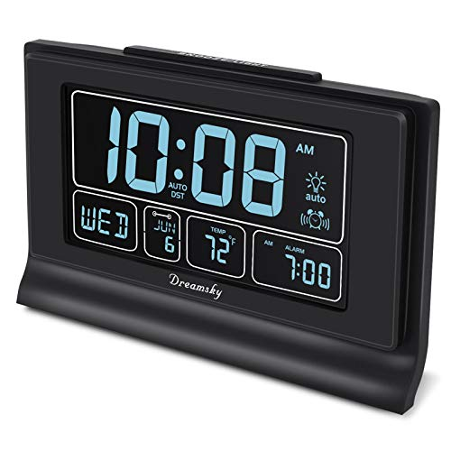 DreamSky Auto Set Digital Alarm Clock with USB Charging Port, 6.6 Inch Large Screen with...