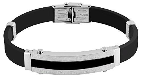 Silikon Armband Armreif Schwarz Edelstahlelementen Silberfarben 3650000076