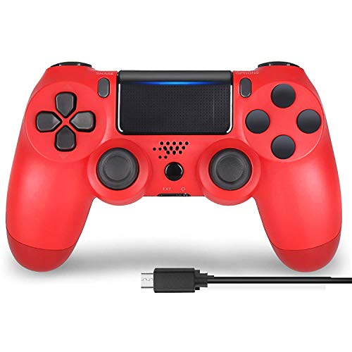 Userging PS4 Wireless Controller for PS4 DualShock 4/Pro/Slim Console with Headset Jack/Dual Vibration/Speaker/Touch Pad/Six-axis Motion Control-Magma Red