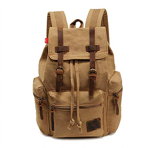 shujuxian Outdoor Canvas Backpack, Casual Retro Outdoor Backpack Travel Hiking Mountaineering,Fits 14' Laptop,for School College Student,for Men Women