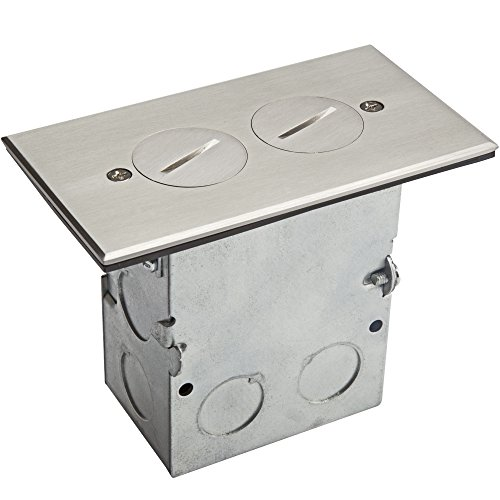 """ENERLITES Screw Cap Cover Floor Box kit, 5"""" x 2.87"""" 1-Gang, 20A Tamper-Weather Resistant Duplex Receptacle Outlet, Watertight Gasket, Corrosive Resistant, UL Listed, 975506-SS, Stainless Steel"""