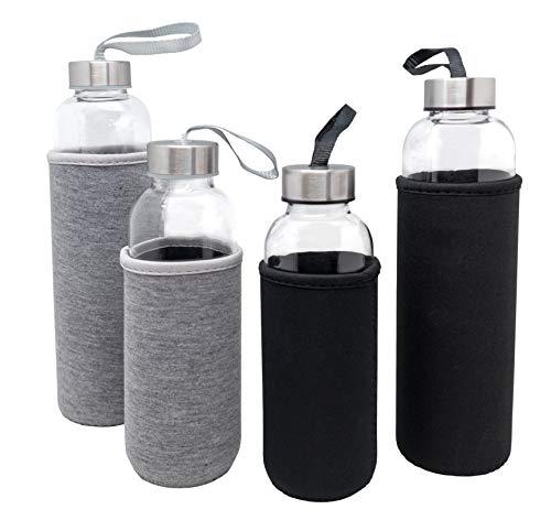 Nerthus FIH 650 Bottiglia di Vetro da 600 ml Grigio, Borosilicato e neoprene