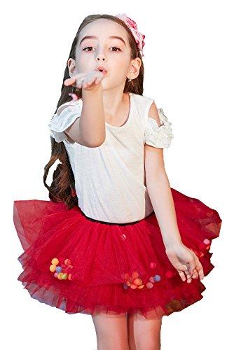Buenos Ninos - Falda de tutú para niña de 8 capas, falda de tul de ballet corto, pelotas de puff para 1 – 6 T,  Red With Ball,...