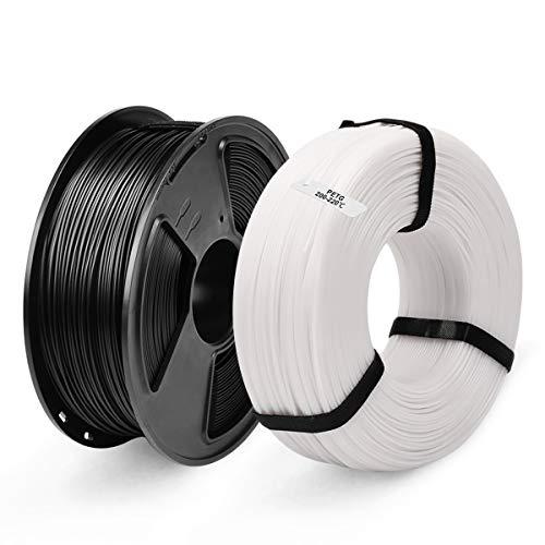 PETG 3D Printer Filament, SUNLU PETG Filament 1.75mm, PETG MasterSpool Filament 2KG PETG Black+White