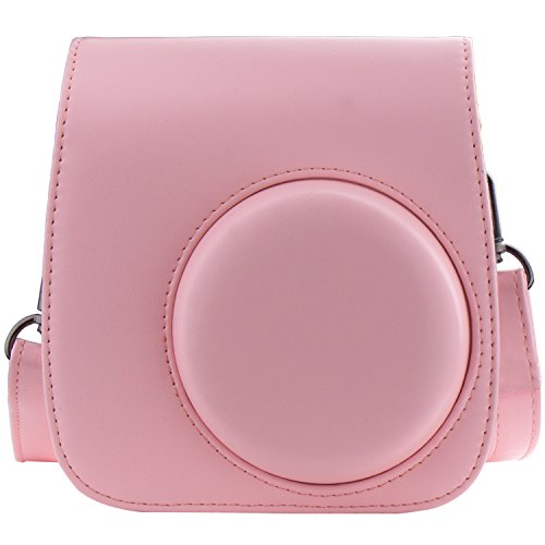 [Kamera Tasche für Fujifilm Instax Mini 8/ Mini 9] - ZWOOS Reise Kameratasche Gehäuse Taschen mit Schultergurt/Weinlese PU Leder für Fujifilm Instax Mini 8/ Mini 8S/ Mini 9 Tasche(Bare Rosa)