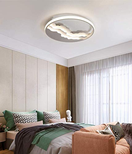 WEM Lámpara decorativa, plafón, plafón LED, plafón de salón nórdico de madera maciza, luz redonda, plafón de dormitorio, oscurecimiento tricolor blanco, blanco y blanco