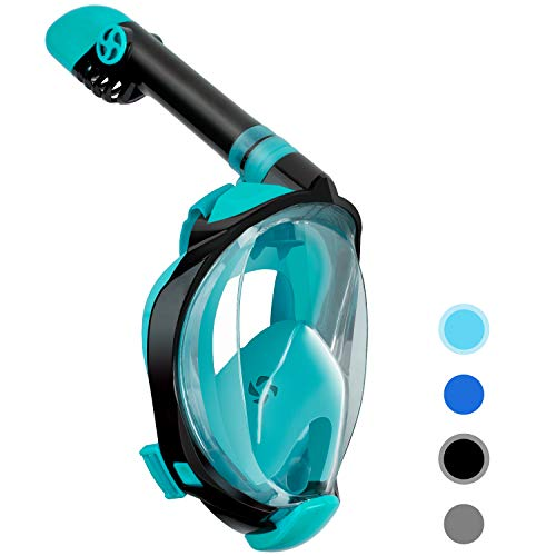 Unigear Full Face Snorkel Mask, Snorkeling Mask Panoramic 180° View, Snorkel Set with Safe Breathing, Anti-Leak&Anti-Fog for Adult by Latest Advanced Safety Breathing System
