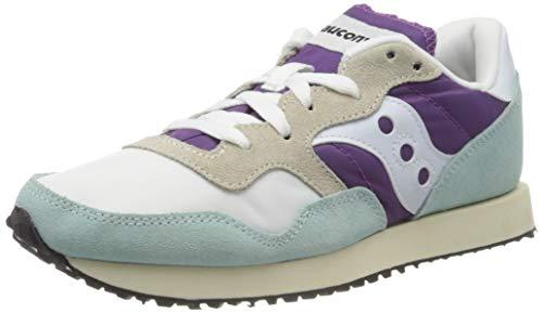 Saucony DXN Trainer Vintage, Zapatillas de Cross para Mujer, (White/Purple/Light Blue 25), 40 EU