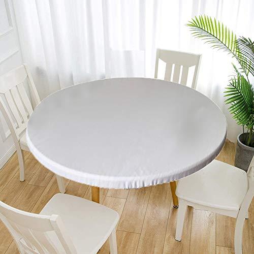Cozomiz Mantel de Elástica Ajustada Protector de Mesa con Bordes Impermeable Cubierta de Mesa Resistente a Agua 120cm Corte Entallado Redondo Blanco