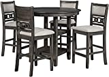 New Classic Furniture Gia 5-Piece Counter Dining Set with 1 Table and 4 Chairs, 42.25-Inch, Gray