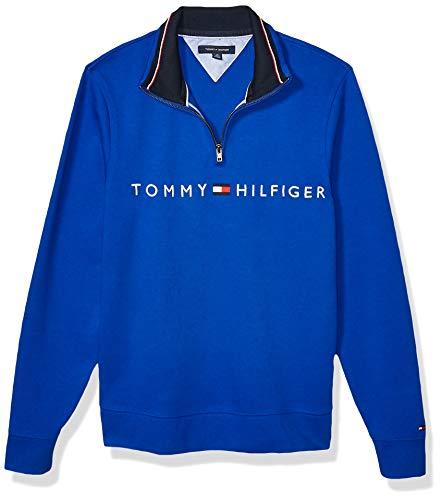 Tommy Hilfiger Men's 1/4 Zip Mockneck Sweatshirt, Surf The Web, X-Large
