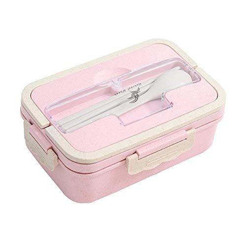 LHQ-HQ Box lunch paja de trigo Box lunch Estudiante Box lunch respetuoso del medio ambiente simple portable creativo del almuerzo Bento Box Box (color: rosa, Tamaño: 7x21x13cm)