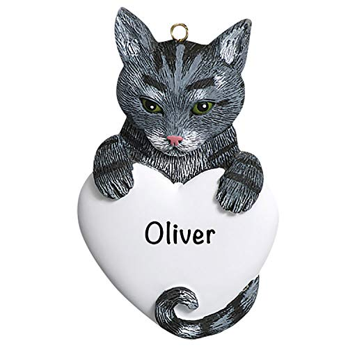 Cat Christmas Tree Ornaments 2020 – Charming Personalized Grey Tabby Cat Ornaments for Christmas Tree – Premium Polyresin Grey Tabby Cat Christmas Ornaments and Grey Tabby Cat Gifts 2020