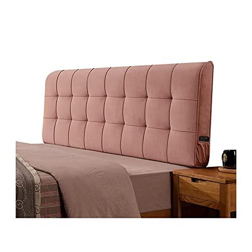 WENZHE Cabecero Cama Cojines Tapizado Cojín Lectura Almohadas, Colisión Agradable Piel Lavable Almohadilla Cintura, Usado para Pared Arena Cama, Personalizable (Color : A-Pink, Size : 200x58x10cm)