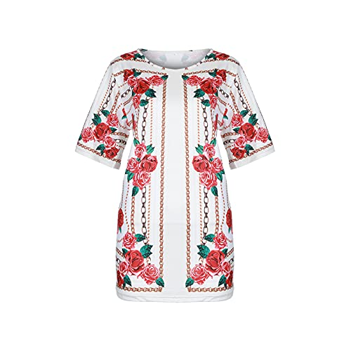 Blusa para mujer, blusa elegante para verano, camiseta de manga corta, cuello redondo, camiseta de verano beige XXL