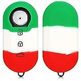 kwmobile Accessoire Clé de Voiture Compatible avec Fiat Lancia 3-Bouton - Coque de Protection Souple en Silicone - Drapeau Italie Vert-Blanc-Rouge