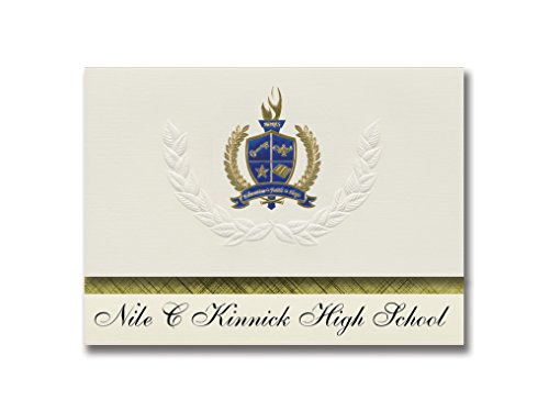Signature Announcements Nile C Kinnick High School (Fpo, AP) Graduierung Ankündigung, Presidential Style, Elite Paket mit 25 Stück mit Gold & Blau Metallic Folien-Siegel