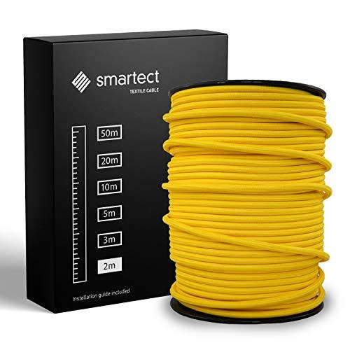 smartect Textilkabel Gelb - 2 Meter Vintage Lampenkabel aus Textil - 3-Adrig (3 x 0.75 mm²) - Stoffummanteltes Stromkabel für DIY Projekt