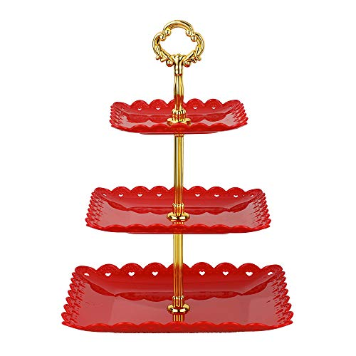 Red square-Large 3 tiered serving stand tray cake stands cupcake holder dessert stand table decorations for party Kids Birthday Tea Party Baby Shower