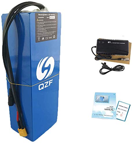 QZF 52V 20AH Ebike Battery Waterproof PVC Lithium Battery Pack with Charger and 50A BMS Protection for 1800W 1500W 1200W 1000W Bike Motor Mountain Bike