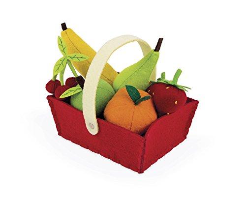 Janod J06577 Früchtekorb / Gemüsekorb Filz 8 Teile, Früchtekorb