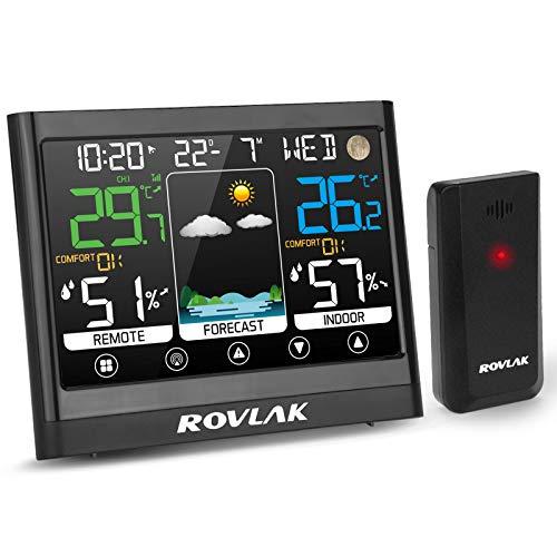 ROVLAK Wetterstation mit Außensensor Farbdisplay Digital Multifunktionale Thermometer Hygrometer Wetterstation Innen und Außen Temperatur Feuchtigkeitsmonitor Wettervorhersage Mondphasen Datum Wecker