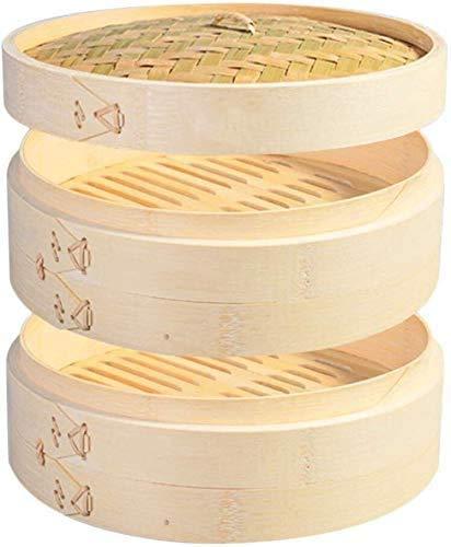 Vaporizador de bambú orgánico premium. Grandes 2 niveles con tapa. Fuerte, duradero y reforzado. Lo mejor para dim sum, verduras, carne y pescado (28 CM)