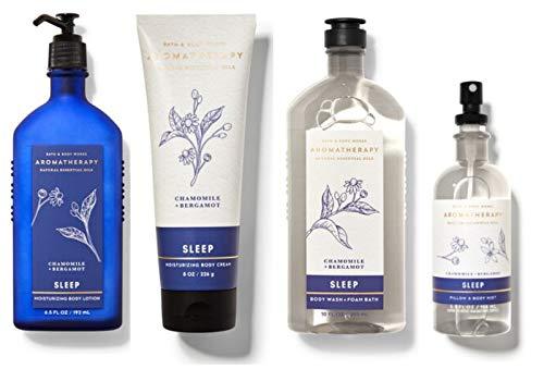 Bath and Body Works Aromatherapy Sleep NEW CHAMOMILE BERGAMOT Deluxe Gift Set - Body Wash Foam Bath - Pillow and Body Mist - Body Lotion & Body Cream - Full Size