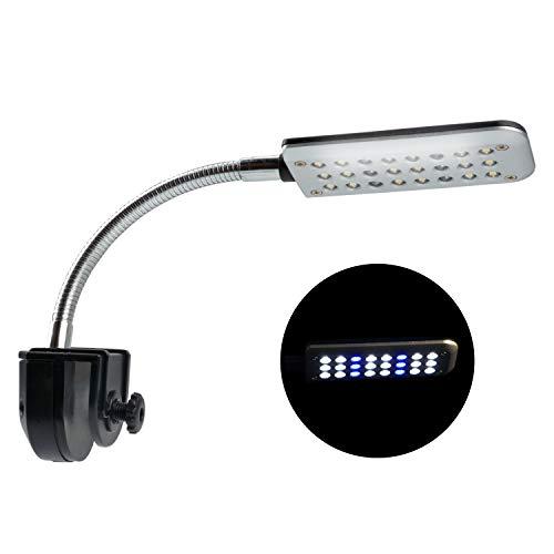 NICREW LED Luces para Acuario Clip, 48 LED Acuario Peces Tanque Abrazadera Clip Lámpara Luz, Iluminación LED para Acuarios Plantados con Luz Azul y Blanca, 30-50 cm, 3W