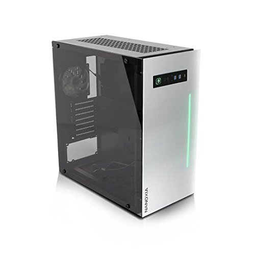 Project S Drawer Case ATX Mid Tower HTPC with Tempered Glass, Aluminum Front Panel and RGB LED Bar, Silver