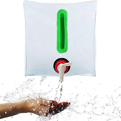 FUFRE Bidón de Agua Plegable 20L Contenedores de Agua, Bidón de Agua para Caravana Transparente Tanque de Agua Plegable para Exteriores Barbacoas Acampadas Senderismo