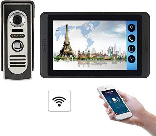 ZGYQGOO IR Night Vision7 Pouce HD Visionneuse Porte Vision Nocturne, Sonnette vidéo, Porte vidéo du téléphone, Sonnette sans Fil bidirectionnelle, Imperméable à l'eau, Noir