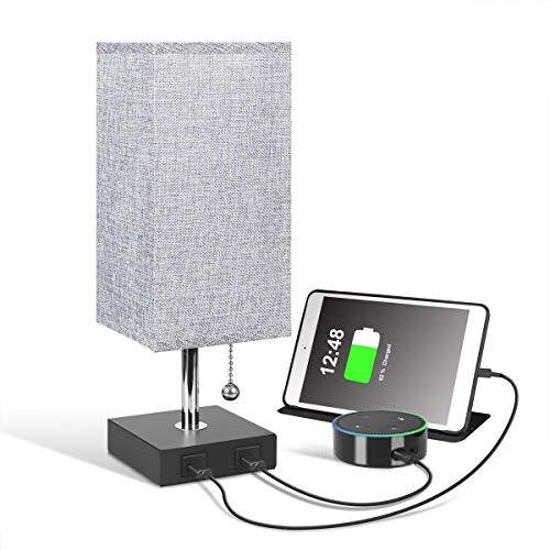 Nachttischlampe mit USB-Ladefunktion, Tischlampe mit Schalter & EU-Stecker für Schlafzimmer Wohnzimmer, Graue Lampenschirm aus Stoff, E27-Fassung, Moderne Tischleuchte