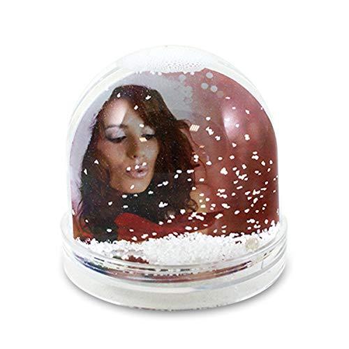 Setkon Schneekugel/Fotokugel für 2 Bilder mit weißen Schneeflocken