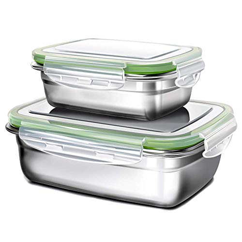 GA Homefavor Lunch Box Edelstahl Lebensmittel Obst Salat Container (2er Set)
