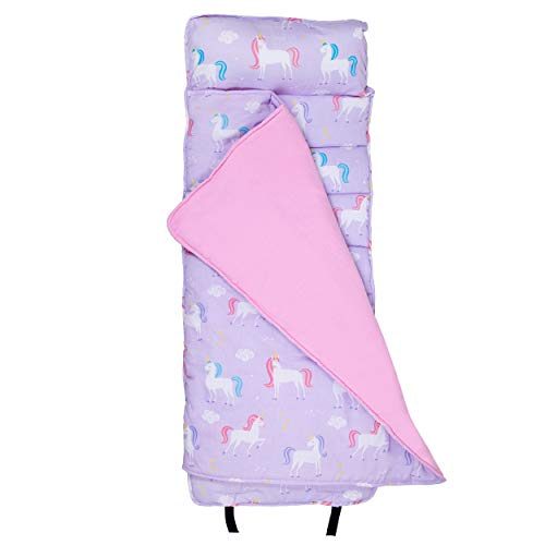 Wildkin Original Nap Mat with Pillow for Toddler Boys and Girls, Measures 50 x 20 x 1.5 Inches, Ideal for Daycare and Preschool, Mom's Choice Award Winner, BPA-Free, Olive Kids (Unicorn)