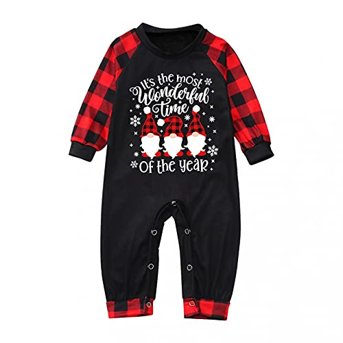 Pijamas Familiares de Navidad Conjunto de Ropa de Dormir de Algodón Reno Santa Impreso Mujer Hombre Niños Bebé Invierno Otoño Tops Camiseta y Pantalones Dos Piezas Sudadera Chándal Casual Homewear