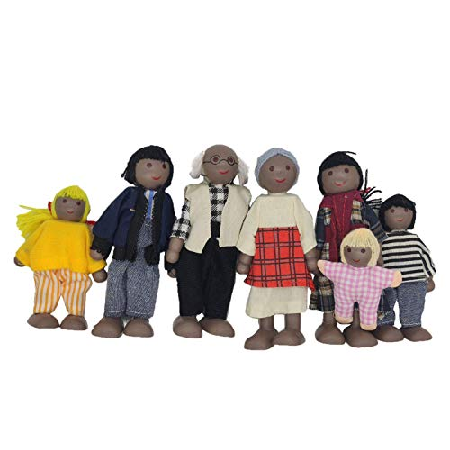 ERANCE African American Wooden Doll, 7 Pack Wooden Doll House Family Dollhouse Dolls Family Pretend Play Figures, Family Role Play Pretend Play Dress-up Characters Mini People Figures