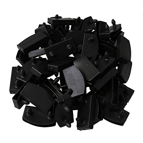 RDEXP 50Pcs Plastic Bed Slat End Caps Holders Replacement for Holding and Securing 52mm Wooden Slats Bed Base Black
