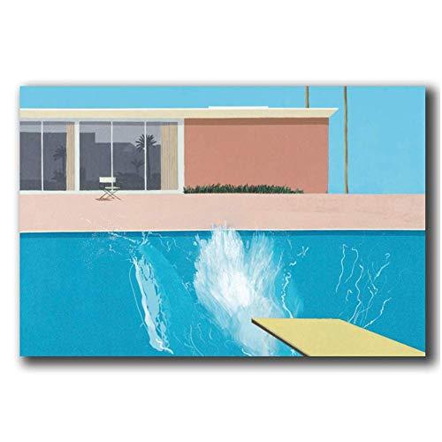 HJZBJZ David Hockney A Bigger Splash Künstler Poster Wandkunst Leinwand Malerei Home Decor Bilder Druck auf Leinwand -20x28 Zoll No Frame 1 PCS